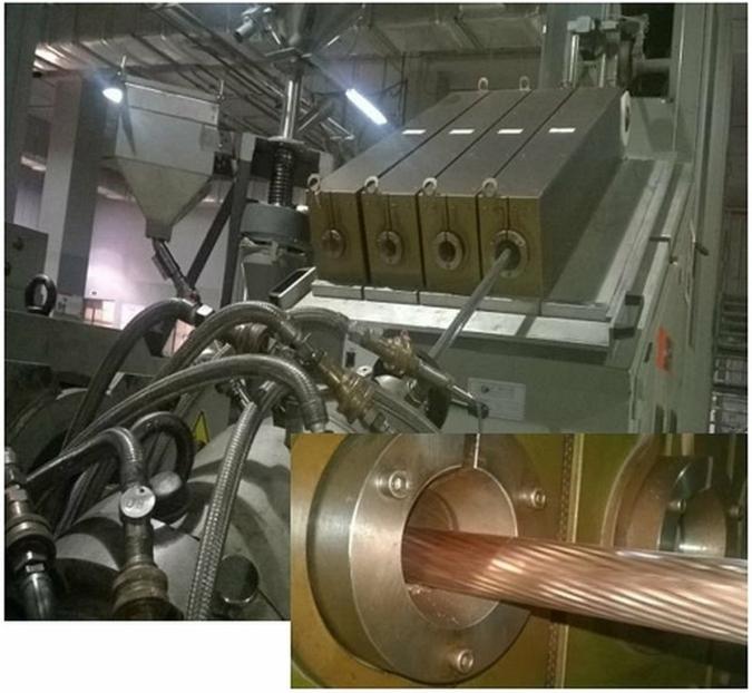 Индукционный  предварительный нагрев кабеля с автоматической заменой индукторо...
