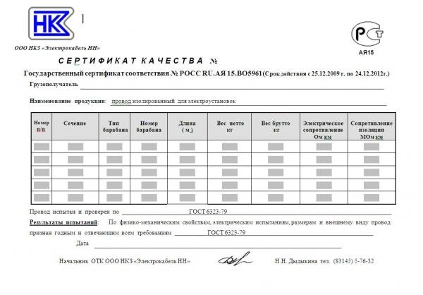 образец паспорт качества на закладные изделия img-1