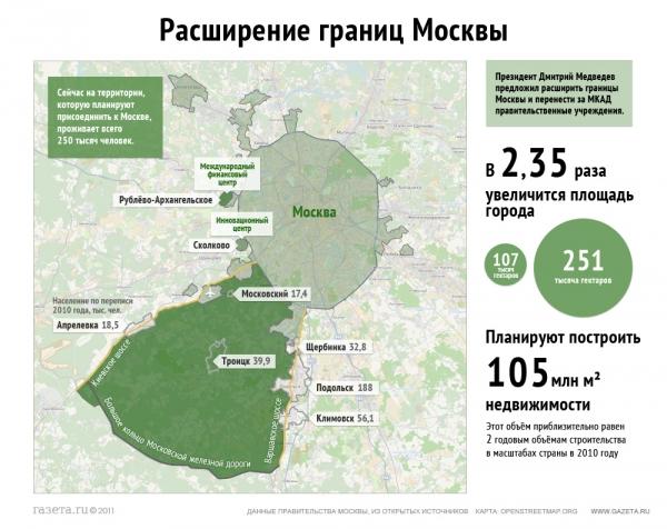 Новая карта Москвы (с учетом