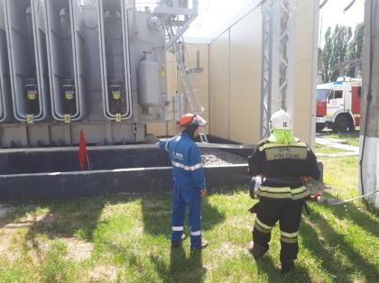 Ставропольские энергетики совместно с пожарными провели противопожарную тренировку