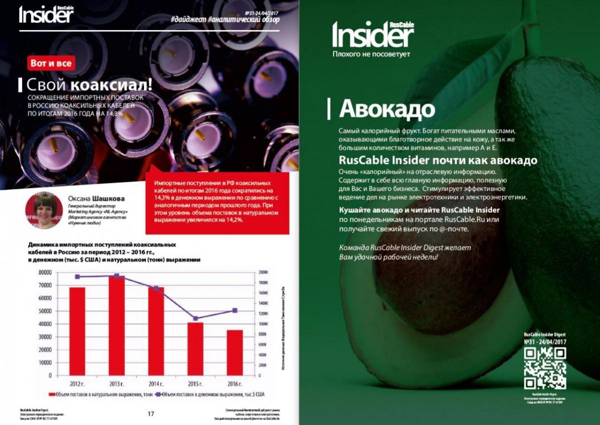RusCable Insider Digest №31 от 24 апреля 2017 года