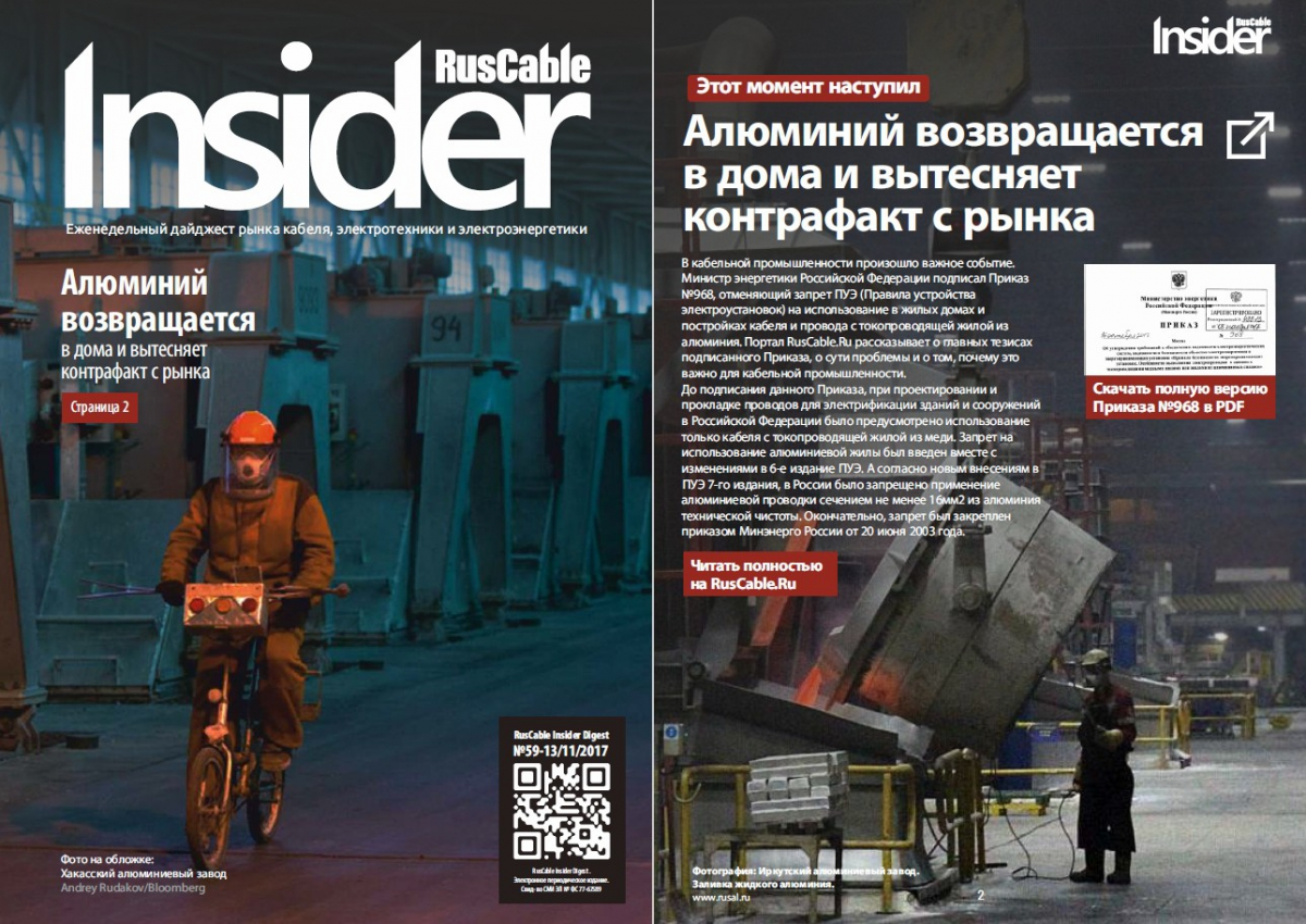 Анонс RusCable Insider Digest №59 от 13 ноября 2017 года