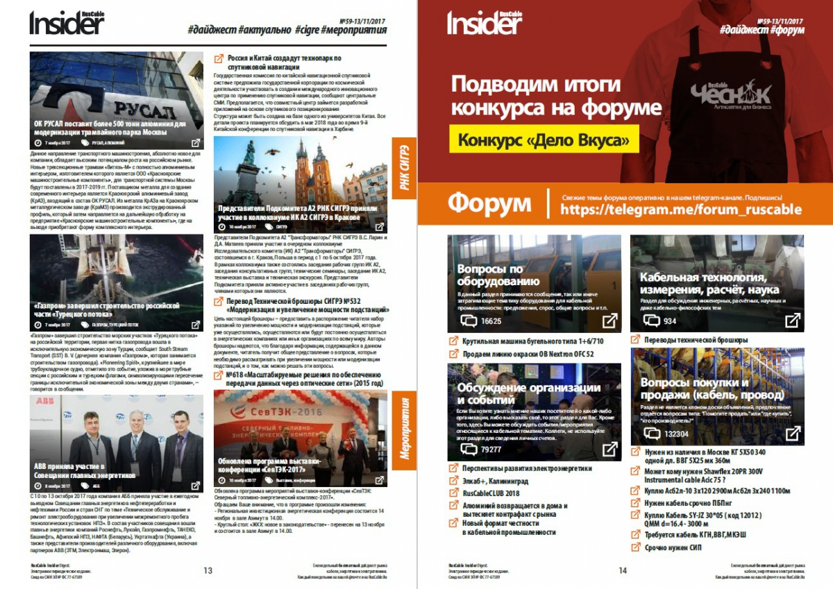 RusCable Insider Digest №59 от 13 ноября 2017 года