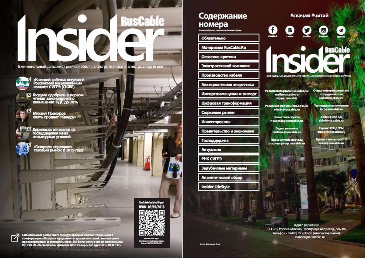 RusCable Insider Digest №88 от 09.07.2018