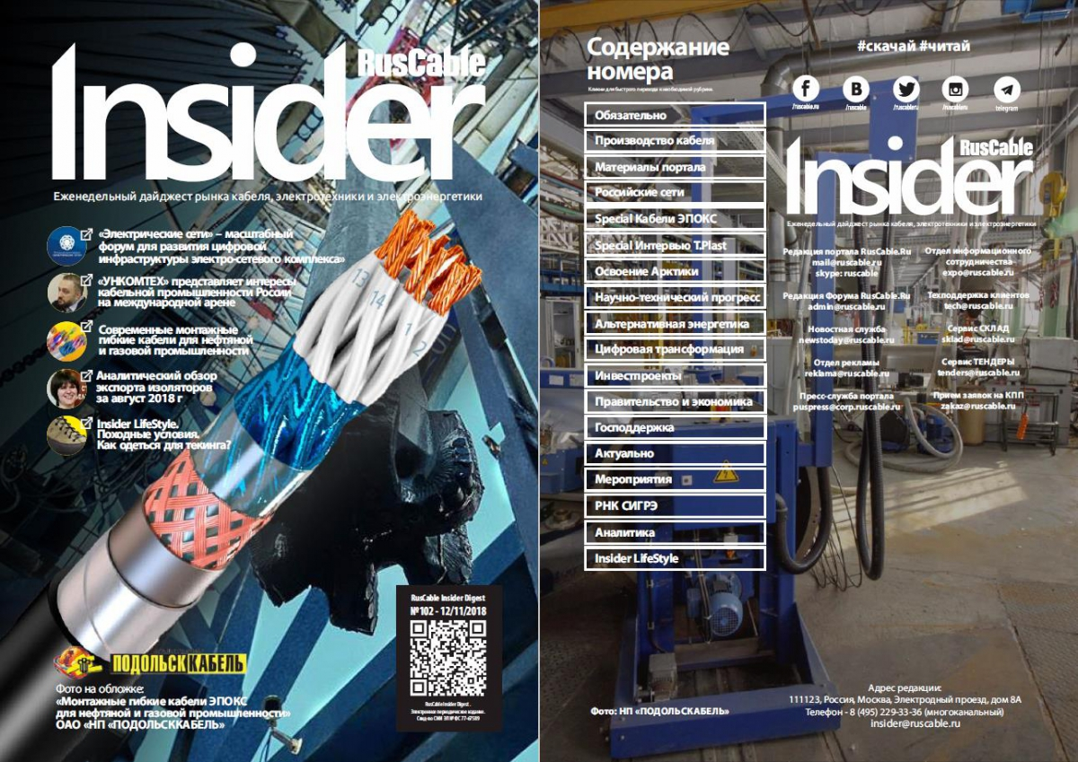 RusCable Insider Digest №102 от 12 ноября 2018 года