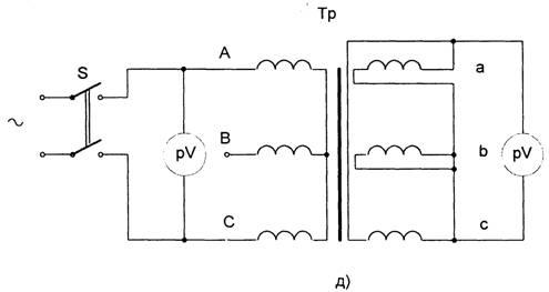 схема измерения коэффициента трансформации силовых трансформаторов.