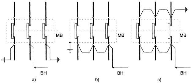 Схемы испытаний масляных выключателей повышенным напряжением. а - средней фазы; б - каждой из трех фаз; в...