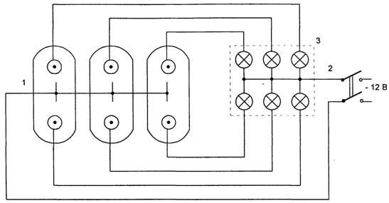 Схема определения разновременности замыкания контактов масляного выключателя.  1 - подвижный контакт выключателя; 2...