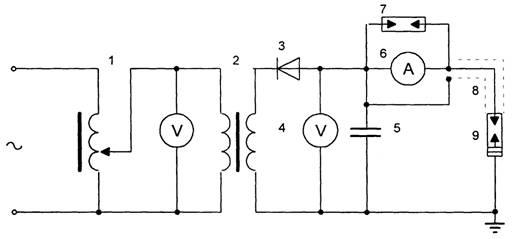 Рис. 1. Схема измерения тока утечки вентильного разрядника.  1 - регулировочный трансформатор; 2 - испытательный...