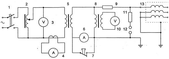 Схема испытания изоляции