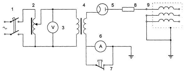 Схема испытания изоляции электрооборудования выпрямленным напряжением.  1 - автоматический выключатель; 2...
