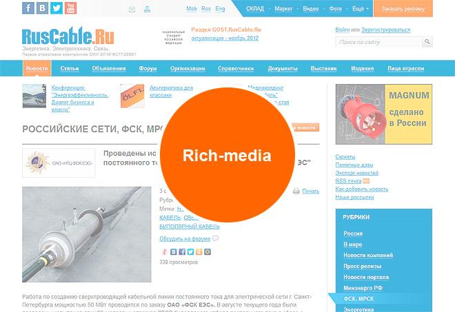 Rich-media баннер на внутренних страницах RusCable.Ru