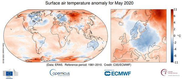 Аномалия приземной температуры воздуха в мае 2020 года