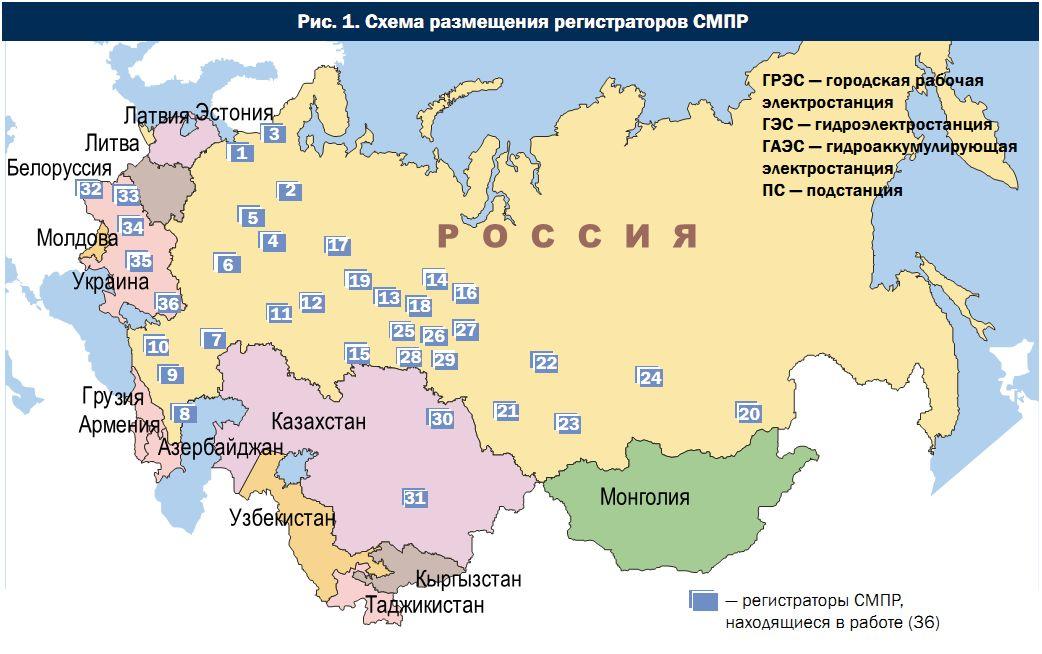 Схема размещения регистраторов